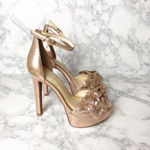 Jessica Simpson Rose Gold Flower Rhinestone Heels